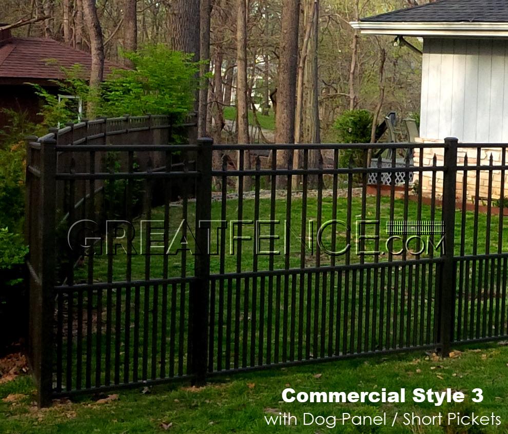 Black Aluminum Fence with Dog Panels