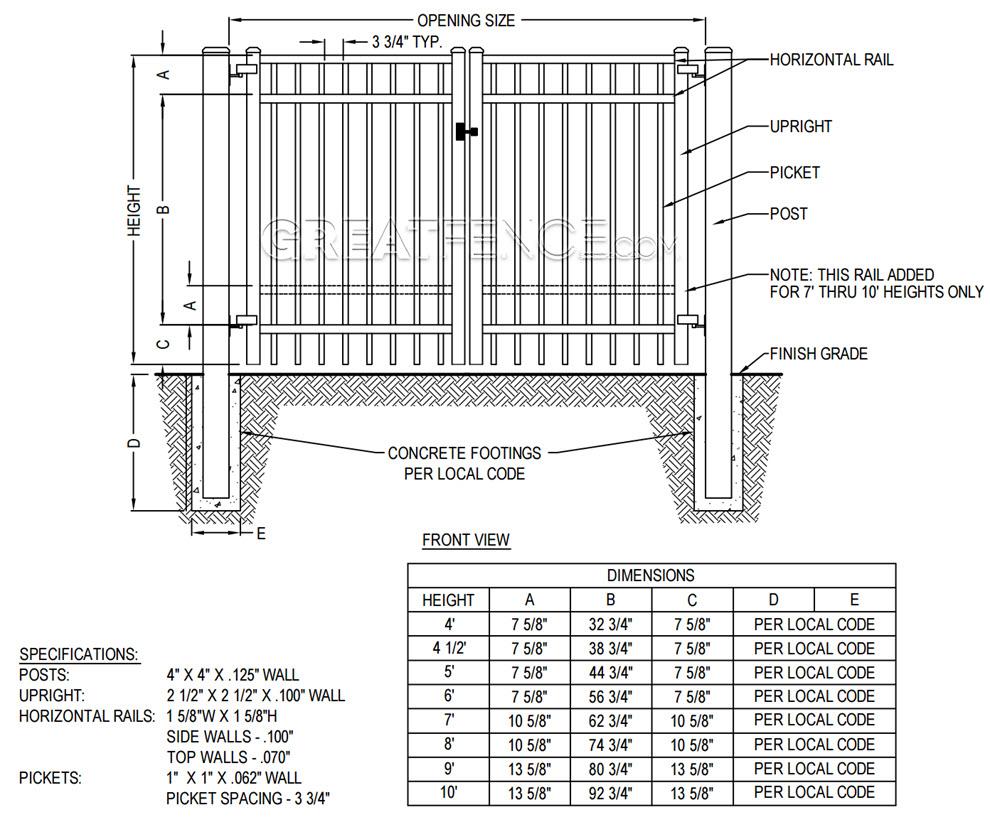 DIAGRAM: Industrial Aluminum Double Gate - Flat Top standard bottom rail