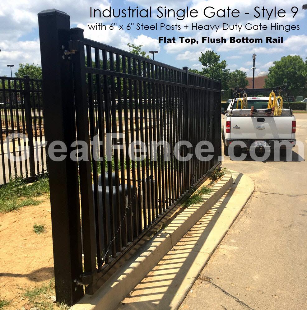 Large industrial single gate - flat top flush bottom rail.