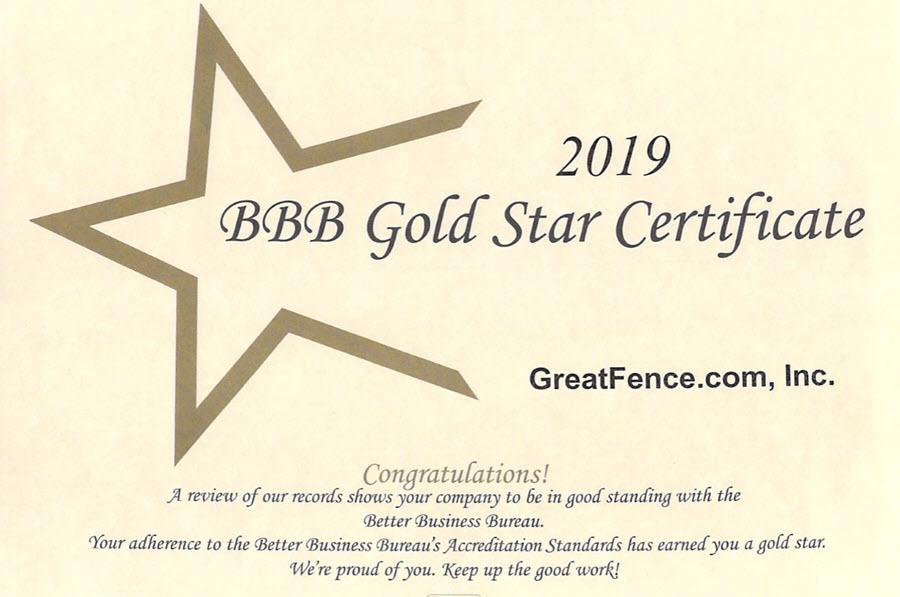 2019 Better Business Bureau Gold Star Certificate