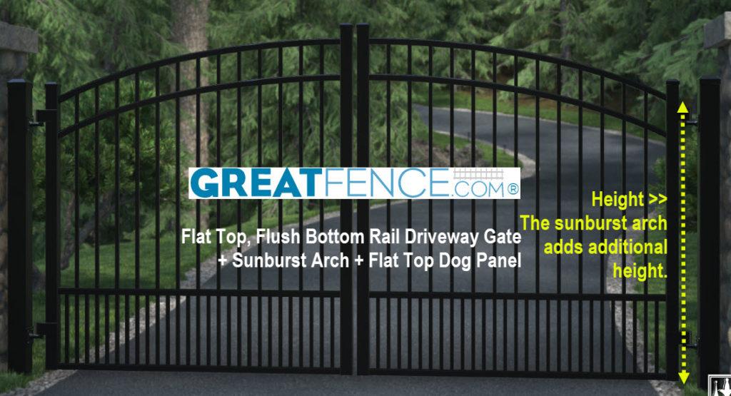 Flat Top, Flush Bottom Rail Driveway Gate + Sunburst Arch + Flat Top Dog Panel